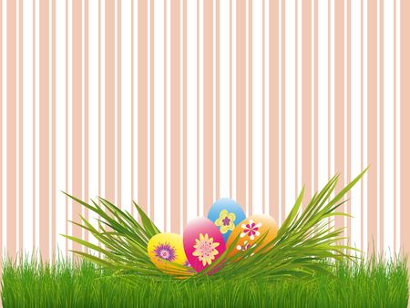 Easter holiday colorful easter eggs pink stripe background Stock Photo - 6636724