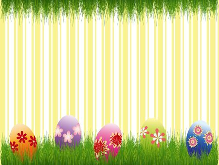 Easter holiday colorful easter eggs yellow stripe background Stock Photo - 6636728