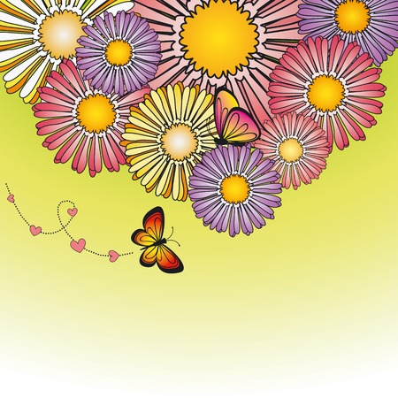 Abstract springtime colorful daisy flowers with butterfly Stock Vector - 6708871
