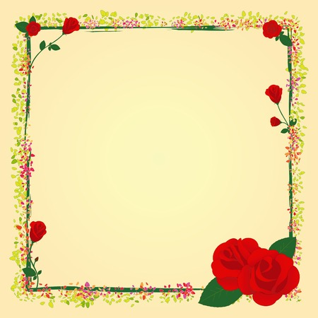 Summer rose garden flower frame  Vector