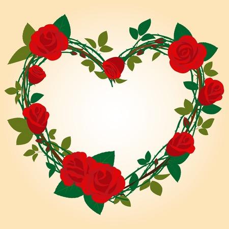 Rose Frame in the shape of heart Stock Vector - 6895270