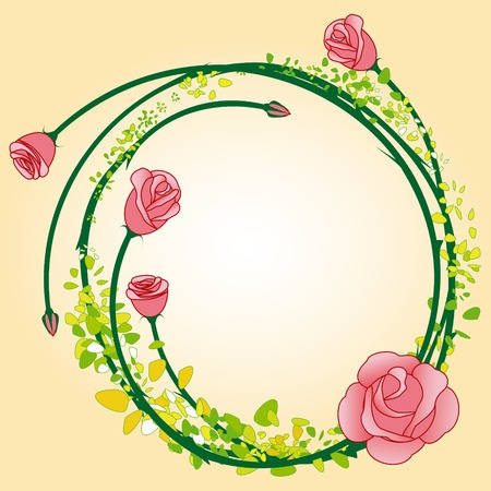 Abstract rose flower frame background  Vector