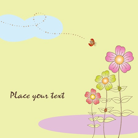 Springtime flora card with ladybird Stock Vector - 7008364