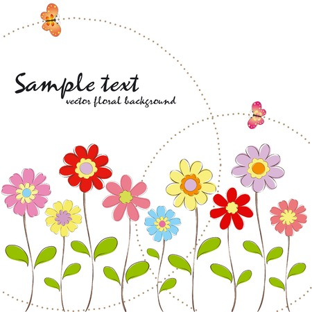 Spring summer colorful floral with butterfly wallpaper Stock Vector - 7067608