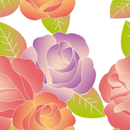 drawing on the fabric: Spring summer rose flower seamless pattern