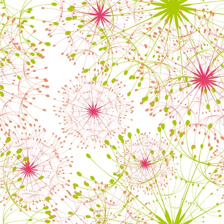 orange blossom: Abstract dandelion seamless pattern background Illustration
