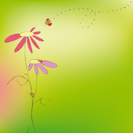 Spring summer floral with ladybirds on green background Stock Vector - 7099382