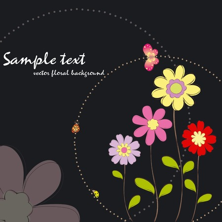 Spring summer colorful floral with butterfly wallpaper  Stock Vector - 7099380