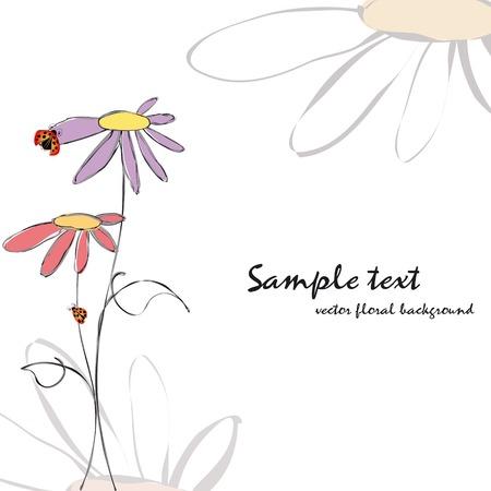 primavera: Primavera verano floral con tarjeta de felicitaci�n de mariquitas  Vectores