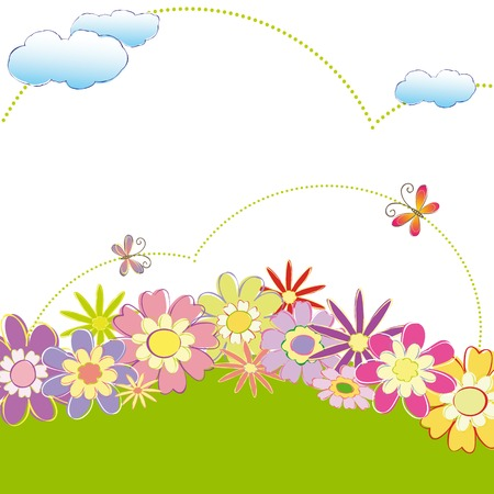 Spring summer colorful floral butterfly wallpaper Vector
