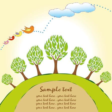 green planet: Arborescence plan�te verte avec le papier peint des oiseaux multicolores  Illustration