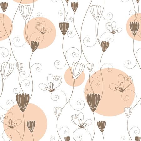 초록 꽃 나비 원활한 패턴 일러스트