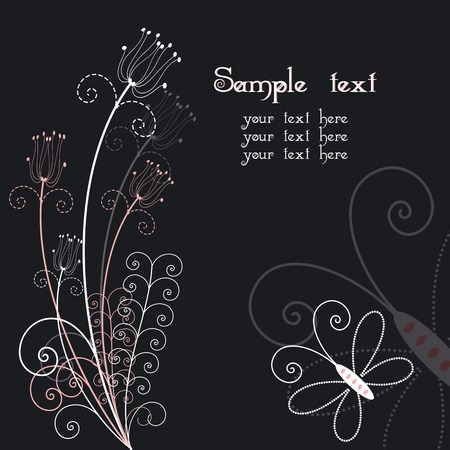 Abstract floral with butterfly greeting card Stock Vector - 7276990
