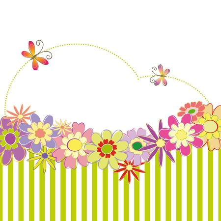 Spring summer colorful floral greeting card Vector