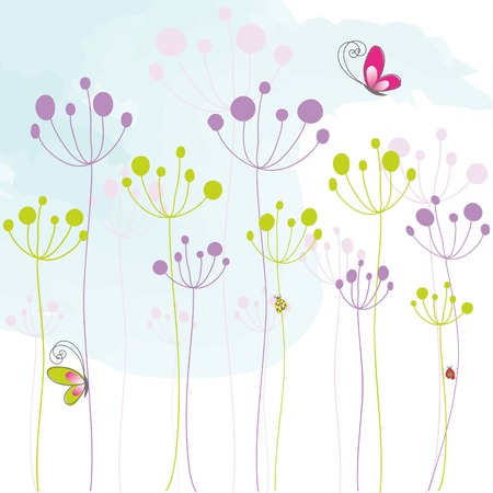 dandelions: Abstract colorful floral butterfly background Illustration