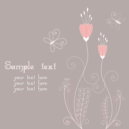 Abstract floral with butterfly greeting card Vector