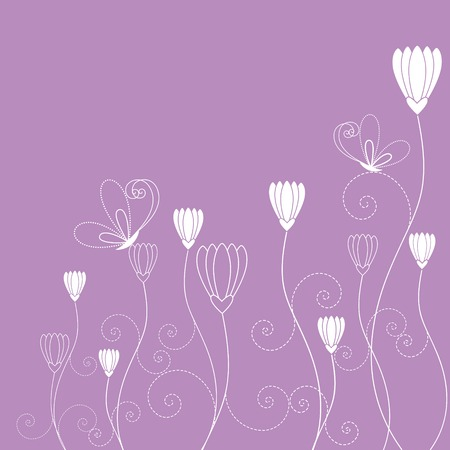 Springtime purple white floral butterfly wallpaper Stock Vector - 7374113
