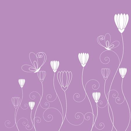 childish: Springtime purple white floral butterfly wallpaper Illustration