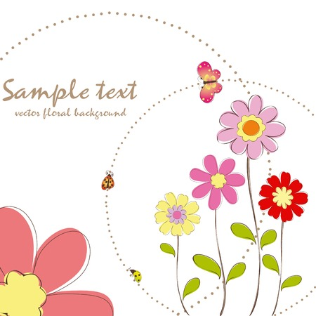 Springtime colorful floral butterfly greeting card Vector