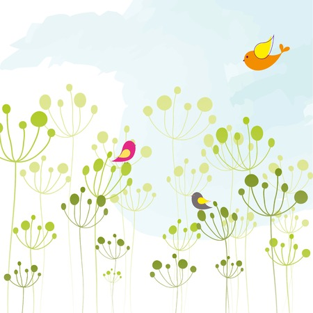 Springtime colorful bird floral wallpaper Stock Vector - 7408999