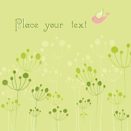 Springtime green floral colorful bird wallpaper Vector