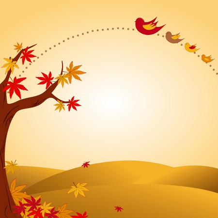 uccelli su ramo: Paesaggio autunnale con albero e uccello