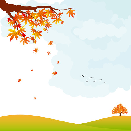 Autumn landscape colorful maple leaves and tree Vector