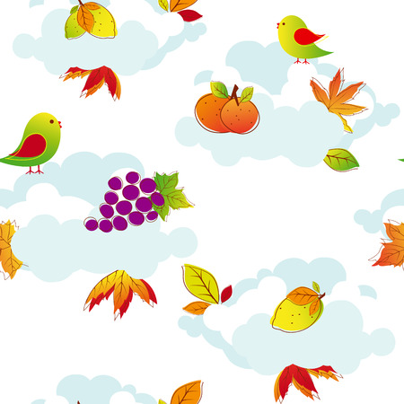 Abstract colorful autumn seamless pattern Vector