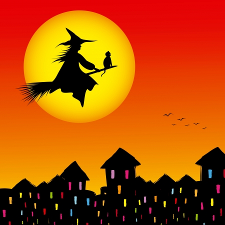 hag: Halloween background silhouette of a witch flying in a broom