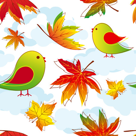 Abstract colorful autumn leaves seamless pattern Vector
