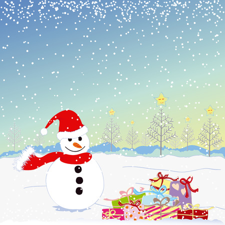 Christmas greeting snowman with colorful present Stock Vector - 8023770
