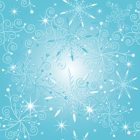 Sparkle blue christmas snowflake seamless pattern Vector