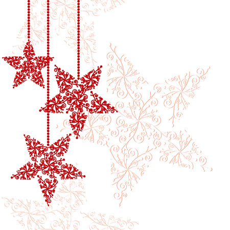 Abstract red christmas star ornament background Stock Vector - 8023773