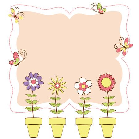 Springtime colorful floral butterfly greeting card Stock Vector - 8095894