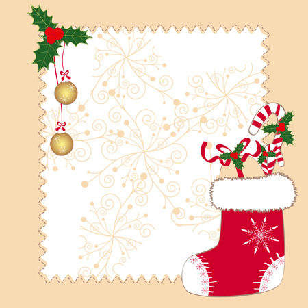 christmas sock: Christmas ornaments greeting card Illustration