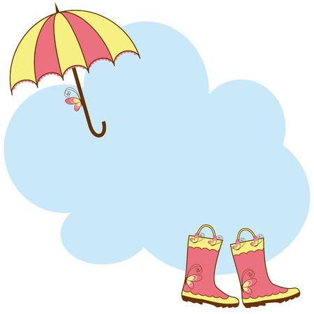 lluvia paraguas: Botas de lluvia bonita ilustraci�n y paraguas  Vectores