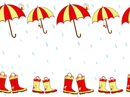 red boots: Illustration cute rain boots and umbrella seamless pattern