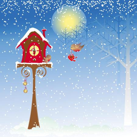 Christmas greeting robin bird background Vector