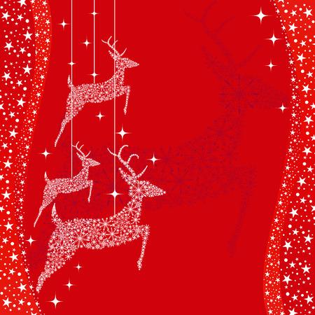 christmas motives: Red Christmas deer greeting card