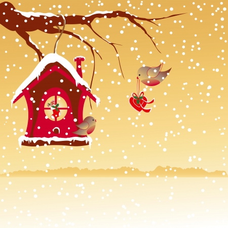 Christmas greeting robin bird wallpaper Vector