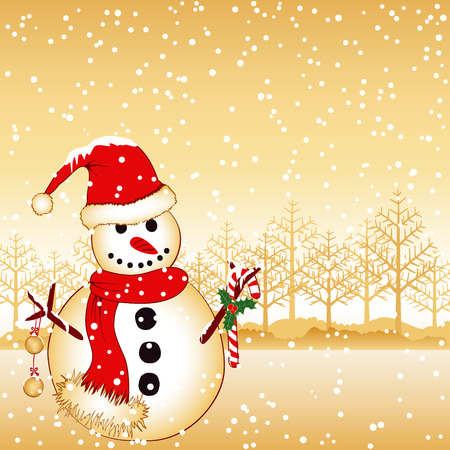 Christmas greeting snowman on white snow land Stock Vector - 8323970