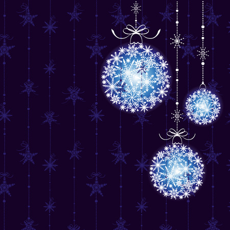 christmas motives: Abstract Christmas balls on seamless pattern background Illustration