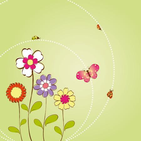 Spring summer floral background Vector