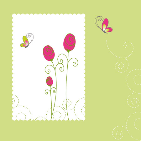 Spring summer floral greeting card Stock Vector - 8444760