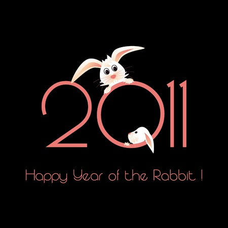 Happy Year of the Rabbit greeting card Stock Vector - 8530665