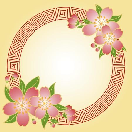 b�n�diction: Carte de voeux nouvel an chinois fleur de cerisier Illustration