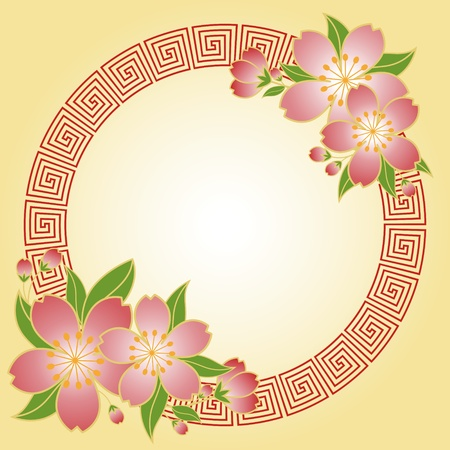 Chinese New Year cherry flower greeting card Vector