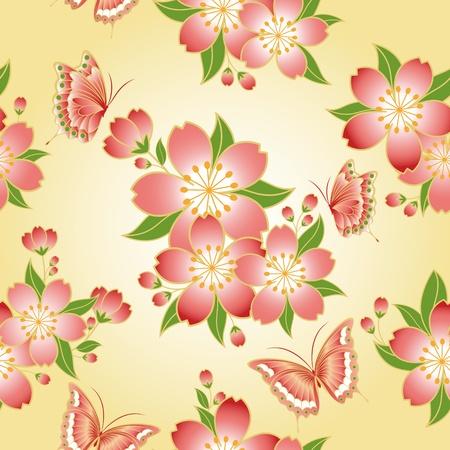 伝統: 蝶と東洋のシームレスなパターン桜桜