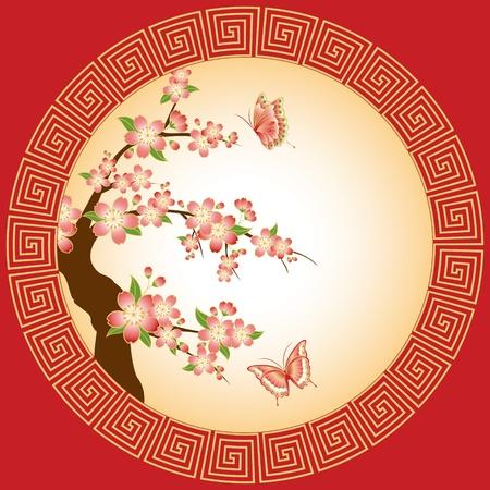 flores chinas: Oriental flor de cerezo rojo rosado con mariposa sobre fondo rojo