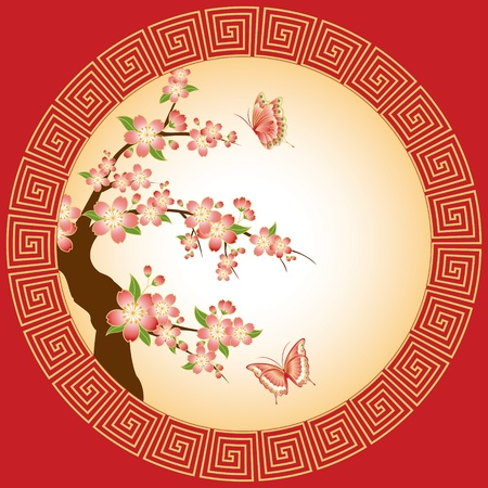 Oriental pink red cherry blossom with butterfly on red background Vector